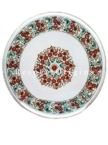 Buy Luxury Marble inlay Table Top or Pietra Dura Circular White Marble Round Table Top with Malchite Cornelian and Jasper Semi Precious Stone; 2 Feet At RespectOrigins.com