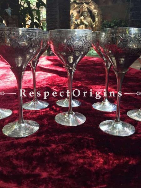 Buy Wine Glass set of Eight; White Metal at RespectOrigins.com