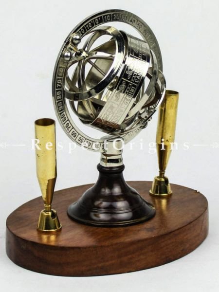 Buy Chrome Plated Globe Pen Holders With Dual Sided Nautical Globes & Compass with Wooden Base At RespectOrigins.com