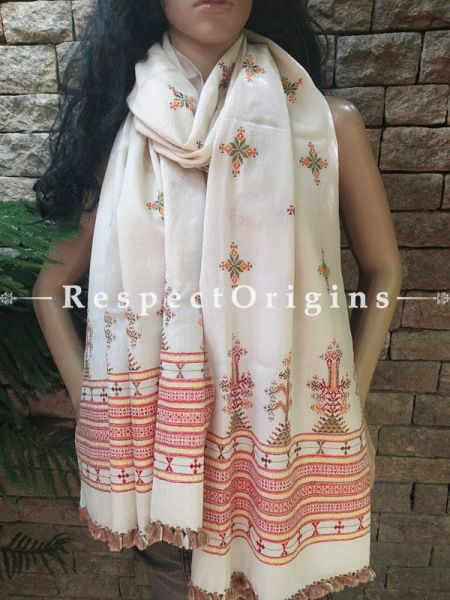 White Soof Embroidered Woollen Shawl or Stole With Green and Orange Embroidery Online at RespectOrigins.com
