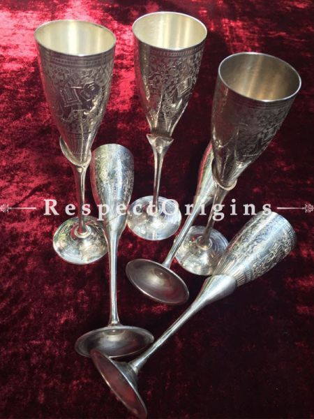 Buy Wine Glass set of six; White Metal at RespectOrigins.com