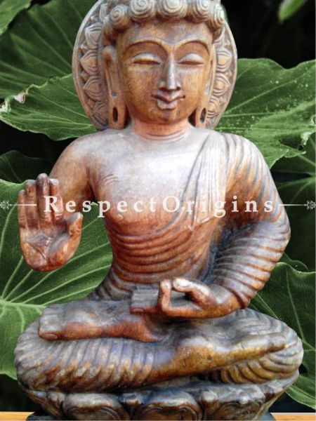 Buy Seated Blessed Buddha; Wooden Statue; 2 Feet Online at RespectOrigins.com