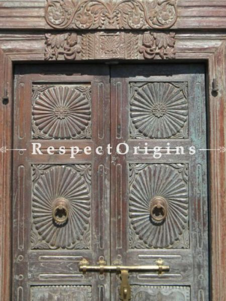 Buy Blue Patina Hued Solid Wood Antique Hand-carved Door Online at RespectOrigins.com