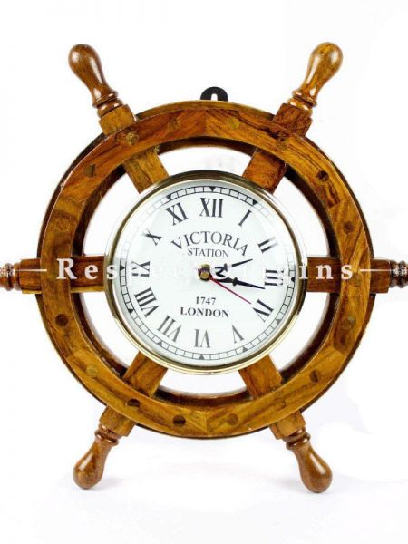 Buy Nautical Handcrafted Wooden Premium Wall Decor Wooden Clock Ship Wheels At RespectOrigins.com