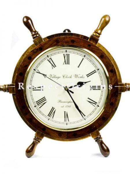 Buy 16 Inches Hand Crafted Wooden Ship Wheel Times Clock At RespectOrigins.com