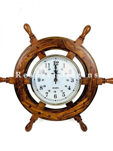Buy Nautical Handcrafted Wooden Premium Wall Decor Wooden Clock Ship Wheels; Pirates Accent; Maritime Decorative Times Clock At RespectOrigins.com