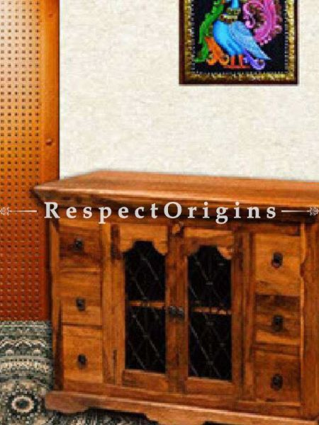 Buy Zenia Retro Hutch or Solid Wooden Sideboard with Iron Latticework; Drawers. At RespectOrigins.com