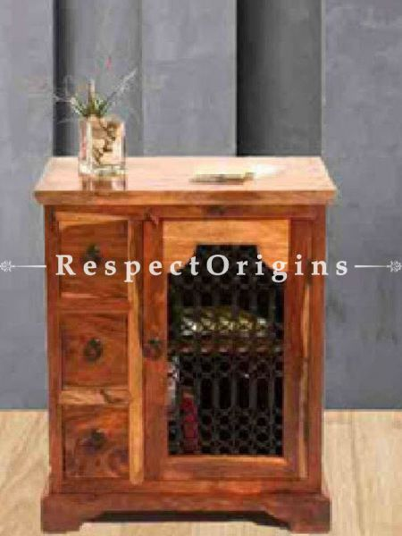 Buy Zenia Retro Night stand or End Table in Wood with Latticework At RespectOrigins.com