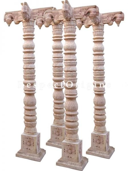 Buy Carved Wooden Pillars for Temple, Living or Landscaping Spaces: Set of 2 Online at RespectOrigins.com