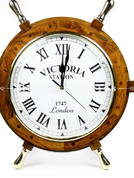 Buy Nautical Handcrafted Wooden Premium Wall Decor Wooden Clock Ship Wheels; Pirates Accent; Maritime Decorative Times Clock (18 inches, Clock Size - 10 inches) At RespectOrigins.com