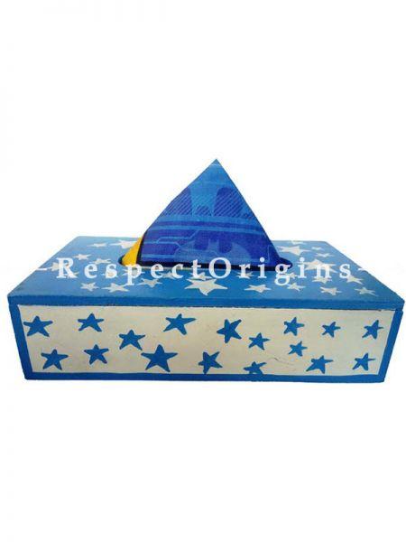 Buy Wooden Rectangular Tissue Holder or Napkin Holder, Blue At RespectOrigins.com