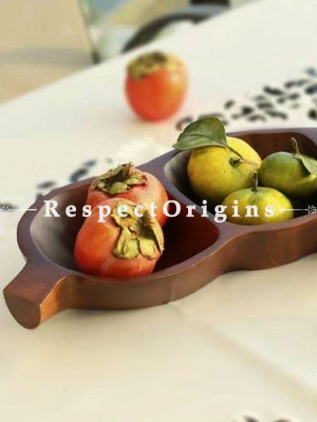 "Mango Wood  Tray Bowl 3 Compartments - Large 15""long; RespectOrigins.com"