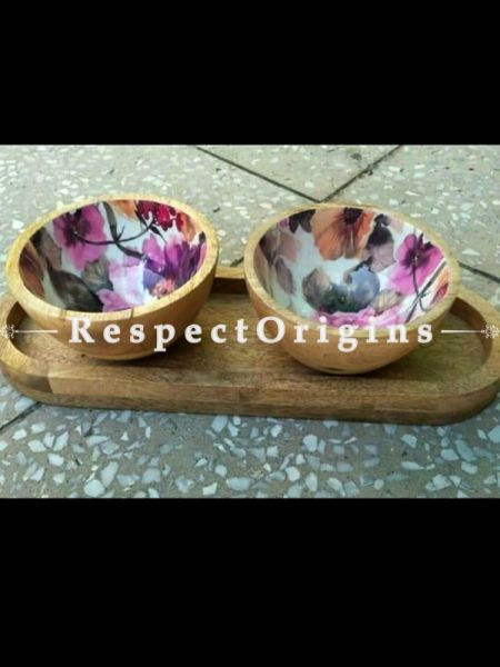 Handmade Wooden Tray with Bowl Set Dry Fruit Tray/Wooden Tray/Wooden Bowl/Home D??cor/Gifting; RespectOrigins.com