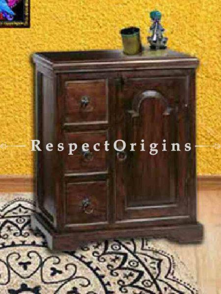 Buy Handcrafted Nightstand in Dark Wood with 3 Drawers & Door. At RespectOrigins.com
