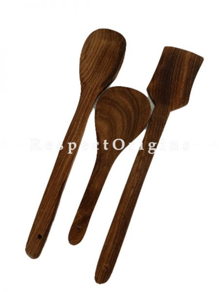 Handmade Wooden Spatula Mix; Set Of 3; Big 14.5Ÿ?? & Small 13Ÿ??; Rice 9.5 Inches; RespectOrigins.com