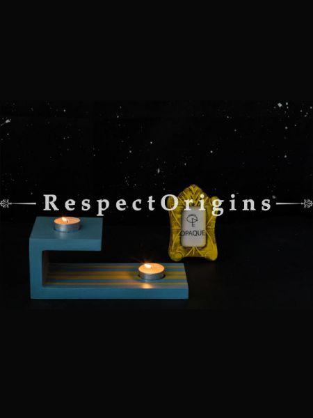 Buy Wooden Tealight Holder, Blue At RespectOrigins.com