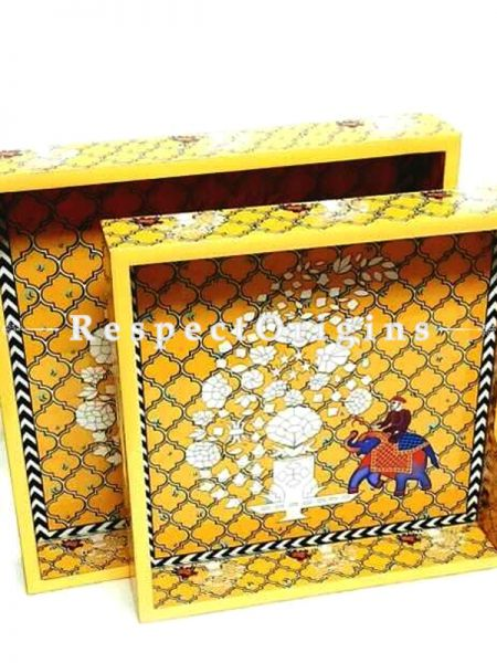 "Set of 2 Large Wooden Premium Print Elephant Yellow Trays; Dinner Tray; Maritime Decor Gifts; Hand Crafted Crates. 11"" X 11"" X 2"". 12"" x 12"" X 2"".; RespectOrigins.com"