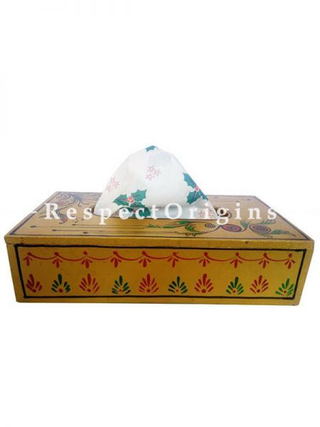 Buy Wooden Yellow Napkin Holder or Tissue Box, Hand Painted  At RespectOrigins.com
