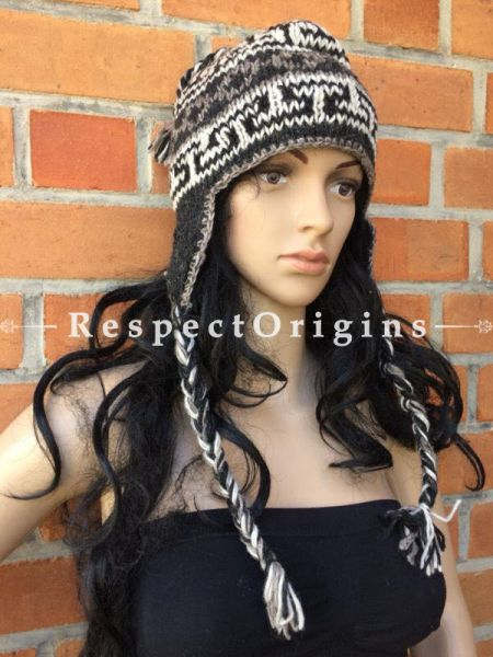 Jasper Hand Knitted Pure Woolen Cap with Ear-flaps or Beanie; Unisex; Free Size; RespectOrigins.com