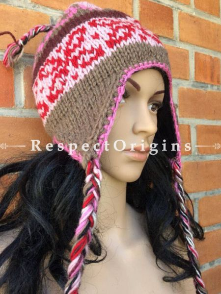 Alaska Hand Knitted Pure Woolen Multi Color Cap with Earflaps or Beanie; Unisex; Free Size; RespectOrigins.com
