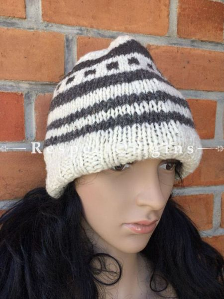 Merry Hand Knitted Woolen Cap or Beanie; White and Grey; Unisex; Free Size; RespectOrigins.com