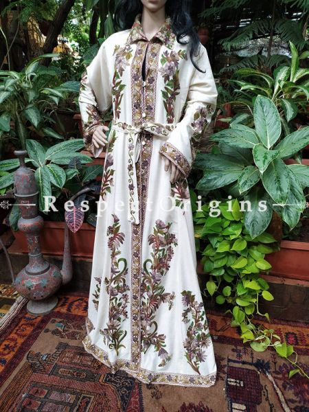 Luxurious Cream Woolen Hand Embroidered Gown with Tie; Free Size; RespectOrigins.com