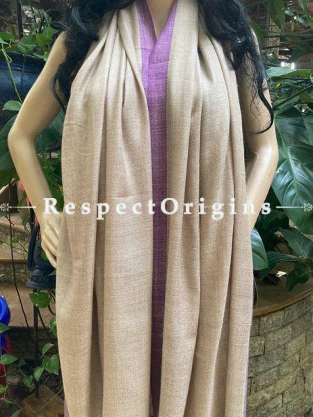 Woven Woolen Kashmiri Stole in Beige ; 80 X 30 Inches; RespectOrigins.com