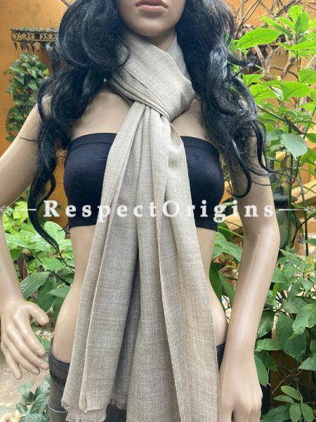 Gray Woven Woolen Kashmiri Stole; 80 X 23 Inches; RespectOrigins.com
