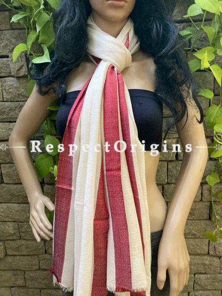 Red and Beige Woven Kashmiri Woolen Stole for women;80 X 28 Inches; RespectOrigins.com