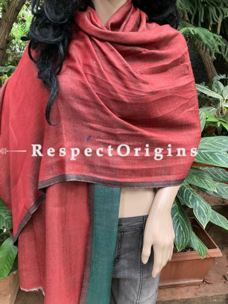 Red and Green Woven Kashmiri Woolen Stole for women; 80 X 30 Inches; RespectOrigins.com