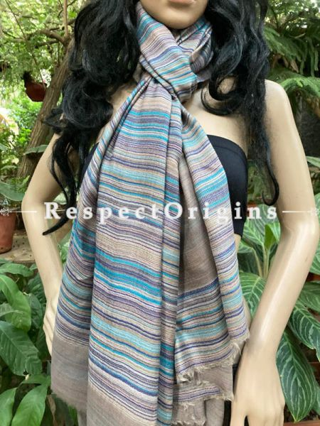 Luxury MultiColored Woven Kashmiri Double Shaded fine Woolen Stole for women;80 X 40 Inches; RespectOrigins.com