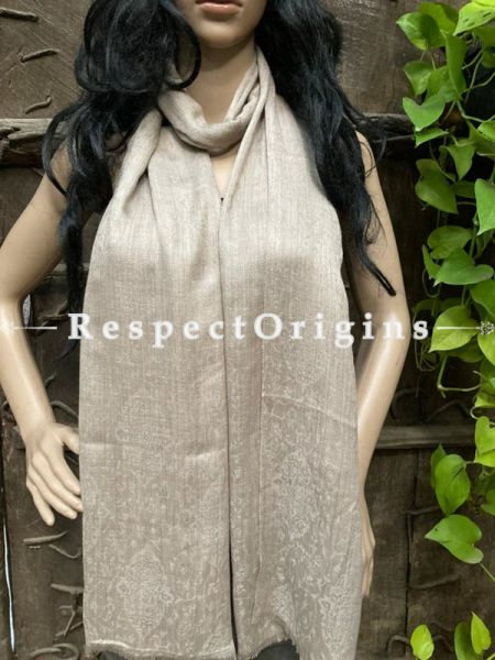 Beige Woven Kashmiri Woolen Stole for women; 80 X 28 Inches; RespectOrigins.com