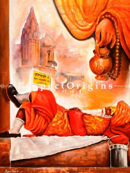 Original art|Fine Art|Worship In Banaras Ghat  Painting RespectOrigins