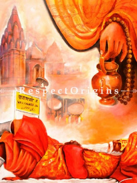 Worship In Banarash Ghat Painting - 36In x 48In Acrylic On Canvas.