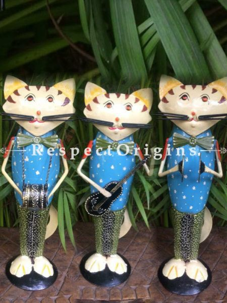 Set of 3 Handcrafted Drummer, Guitar, Cymbal Cat Musician Showpiece; Wrought Iron; W5xH17 Inches; RespectOrigins.com