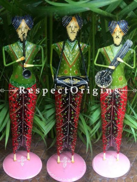 Set of 3 Handcrafted Human Figurine Musician Showpiece; Wrought Iron; W5xH17 Inches; RespectOrigins.com