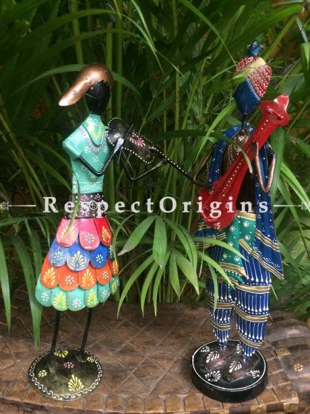 Pair of Handcrafted Musician Showpiece; Wrought Iron; W5xH17 Inches; RespectOrigins.com