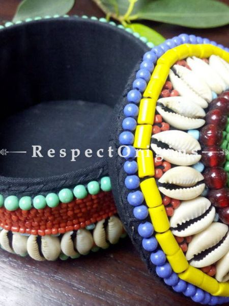 Yellow, blue and red Jewellery Box With Beads and Sea Shells; Ladakhi Beaded Container; RespectOrigins.com