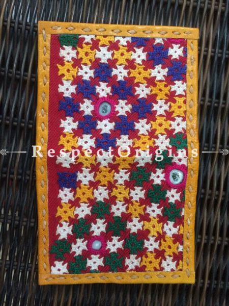Visiting Card Holders; Genuine Handcrafted Leather; Blue, Yellow, White and Green Kutchi Embroidery; RespectOrigins.com