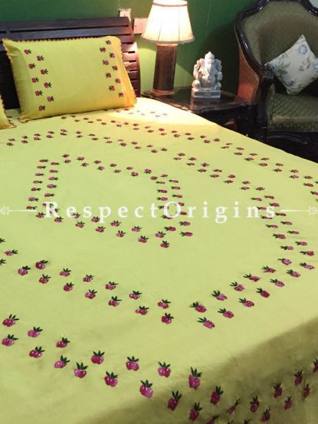 Buy Yellow Floral Design; Cotton Bedspread; Pillow Cases included; 90x108 in At RespectOrigins.com