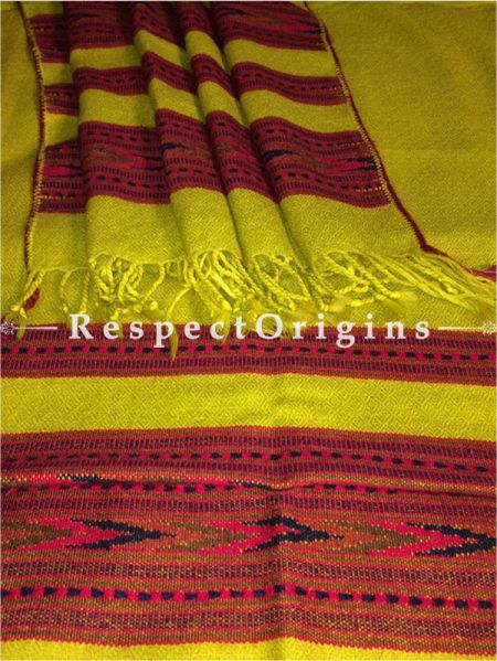 Buy Yellow Hand woven Woolen Kullu Stoles From Himachal with multiple Red borders; Size 80 x 27 inches at RespectOrigins.com