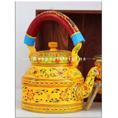 Yellow Handpainted Aluminium kettle set with Wooden tray; RespectOrigins.com