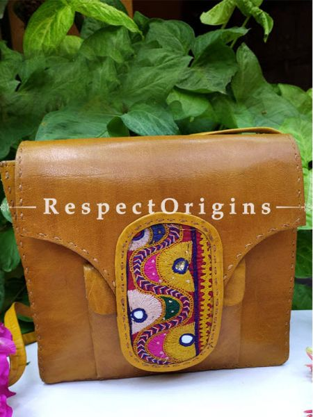 Tan Satchel Bag with Handcrafted detailing and Embroidered Patchwork; RespectOrigins.com