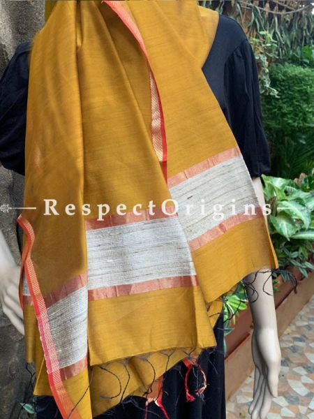 Handloom Yellow Maheshwari Cotton silk stole with golden Jute work and red border 50X35 inches; RespectOrigins