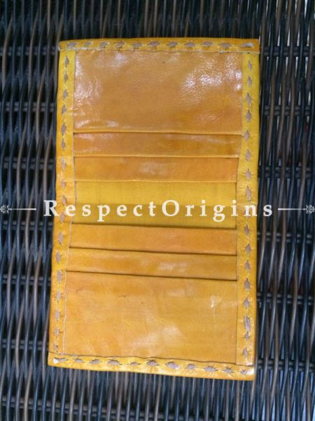 Luxury Visiting Card Holders; Genuine Handcrafted Leather; Yellow Kutchi Embroidery; RespectOrigins.com