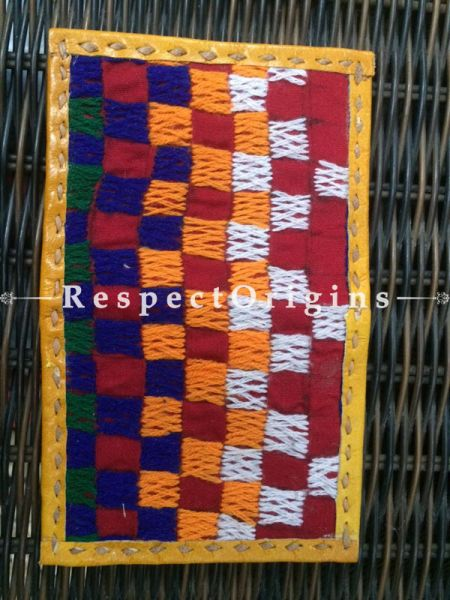 Visiting or Credit Card Holders; Genuine Handcrafted Leather; Yellow Kutchi Embroidery; RespectOrigins.com