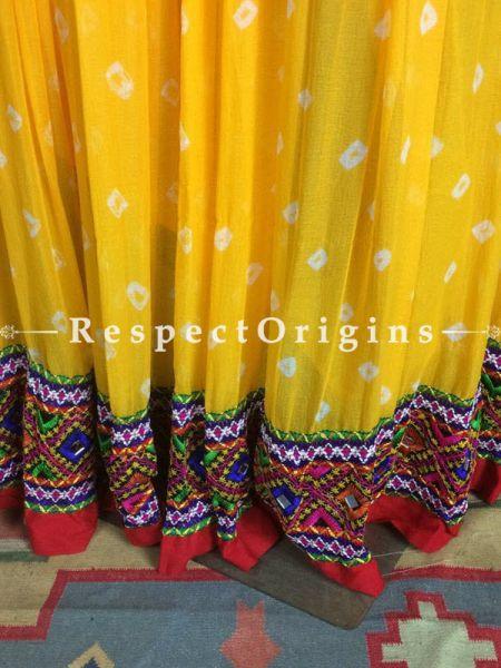 Buy Yellow-Red Handcrafted Jaipur Silk Bhandej Skirt at RespectOrigins.com