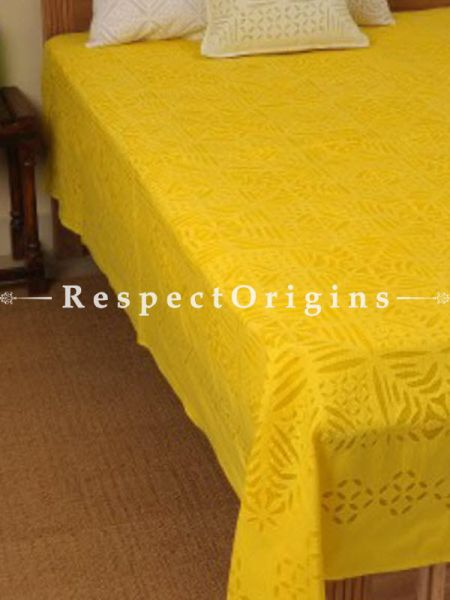 Buy Outstanding Yellow Applique Work Double Bed cover; Cotton, 90x108 in At RespectOrigins.com