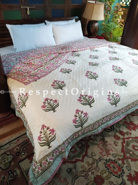 Zara Luxury Rich Cotton- filled Reversible King Comforter; Hand Block-printed; 105 x 87 Inches; RespectOrigins.com