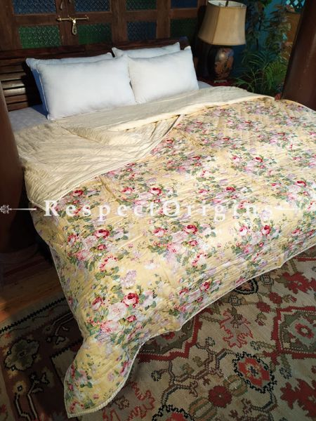 Zooni Luxury Rich Cotton- filled Reversible King Comforter; Hand Block-printed; 105 x 87 Inches; RespectOrigins.com